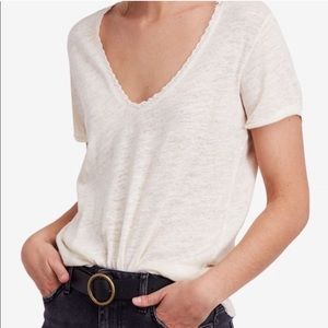 We The Free•Saturday Linen Lace Trim Tee Ivory NWT